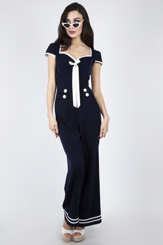 Jolene navy nautical jumpsuit by Voodoo Vixen