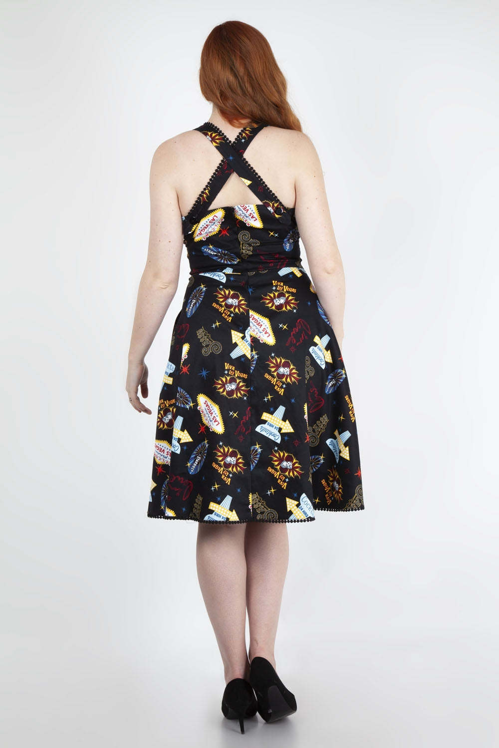 Lucy vegas print black flared dress by Voodoo Vixen