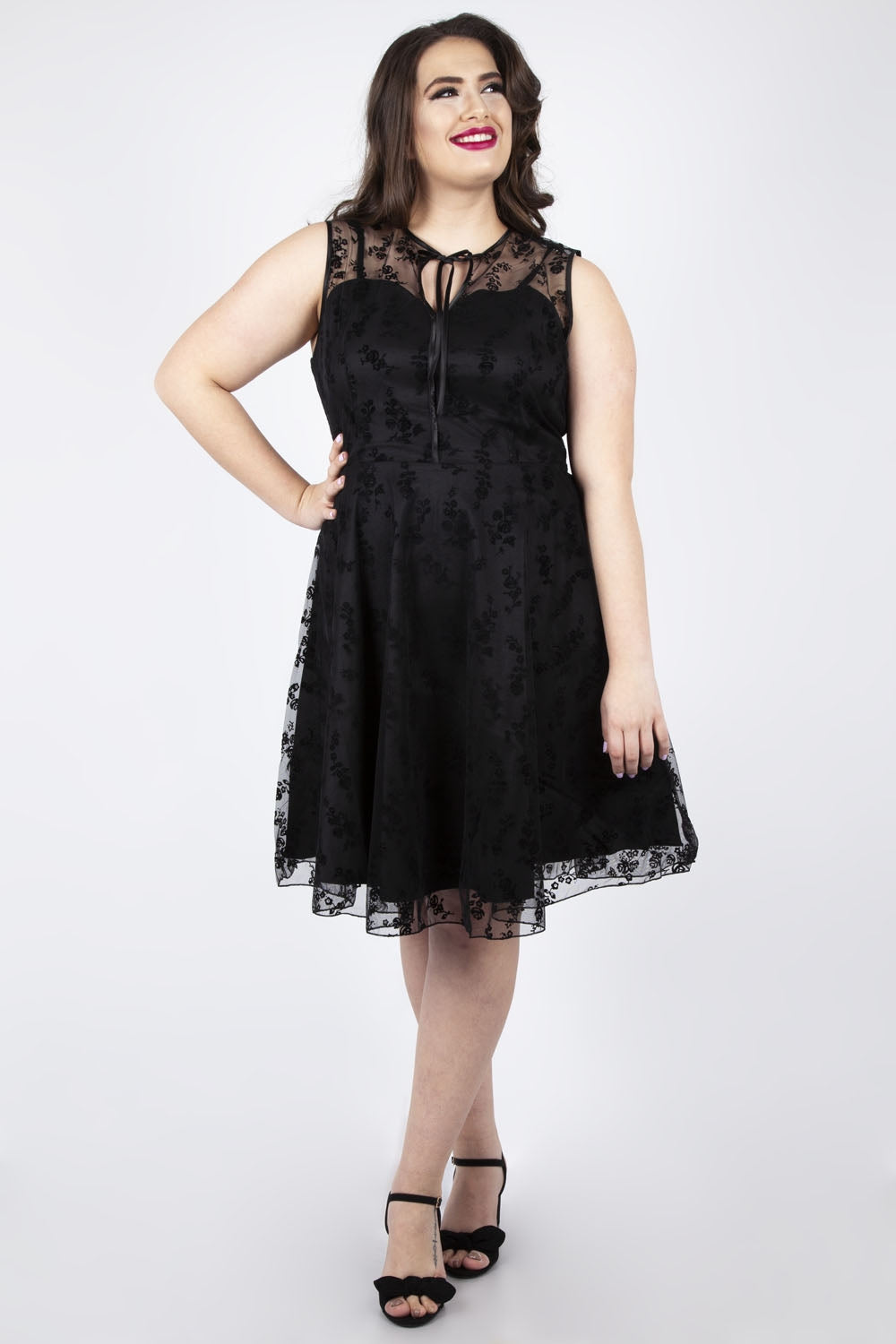 Voodoo Vixen Plus Black lace dress