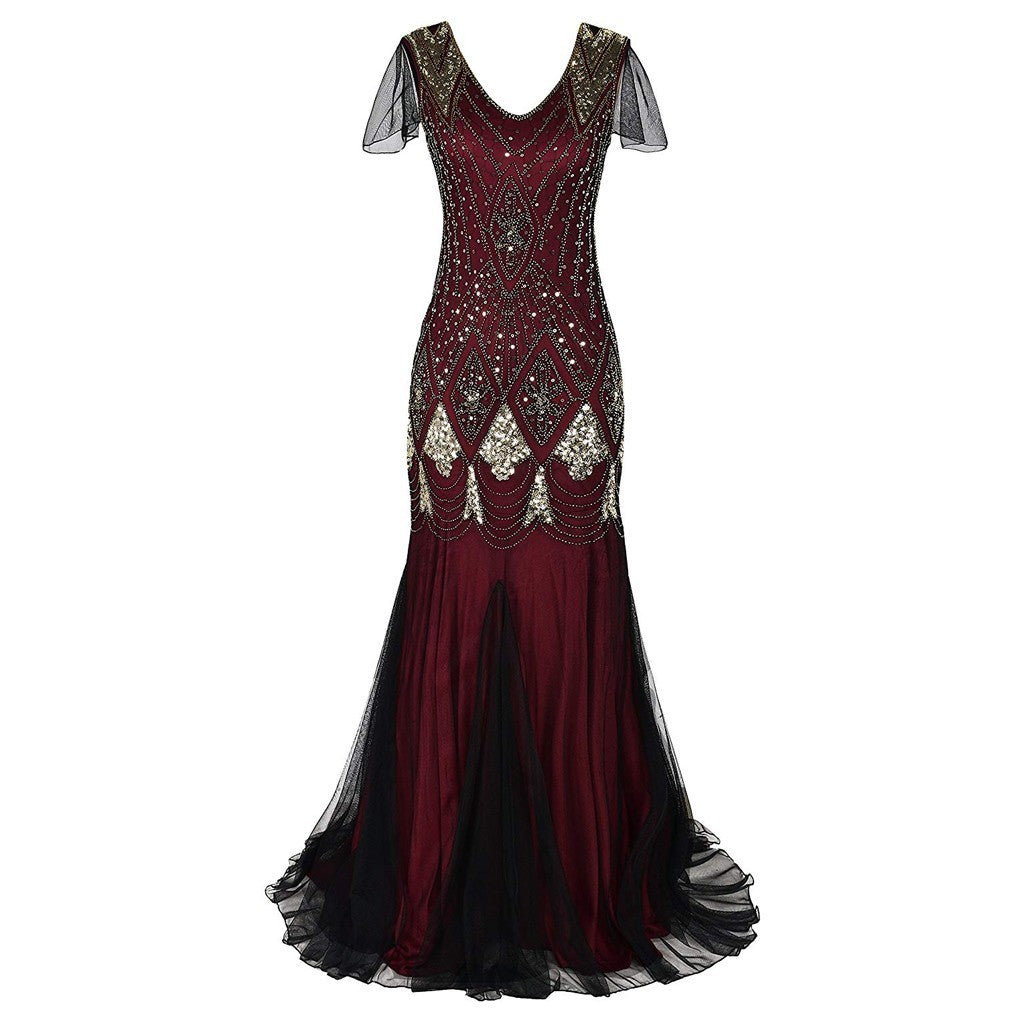 Vintage 1920's Style Beaded Fringe Sequin Lace  Flapper  Dress