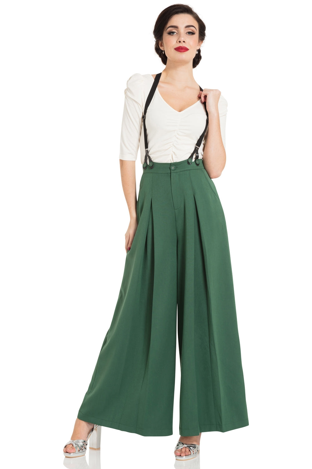 Laura green 40s style trousers by Voodoo Vixen