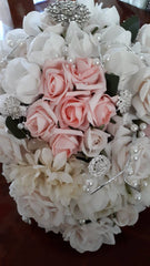 Handmade silk flower,pearl & vintage diamante wedding bouquet