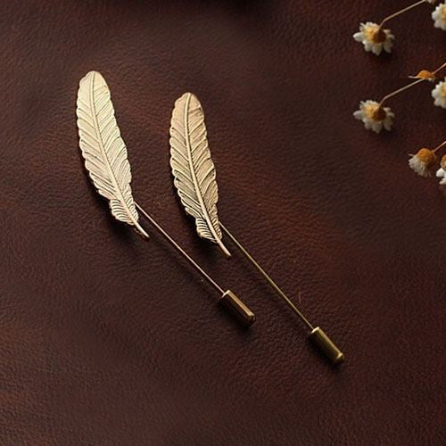 Classic Gold Plated Feather Suit Pin