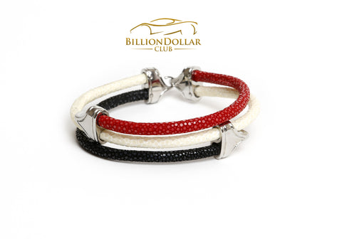 Tri Red White Black Stingray Limited Edition Leather Bracelet