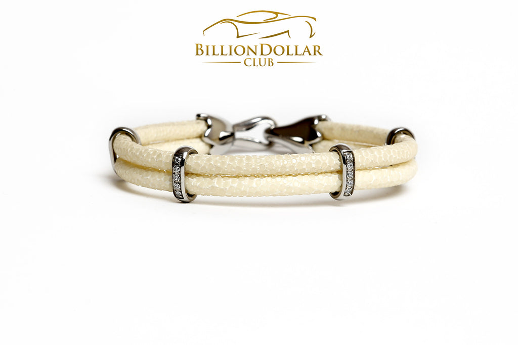 Elegant White Stingray Leather Bracelet with Charms - Last Piece