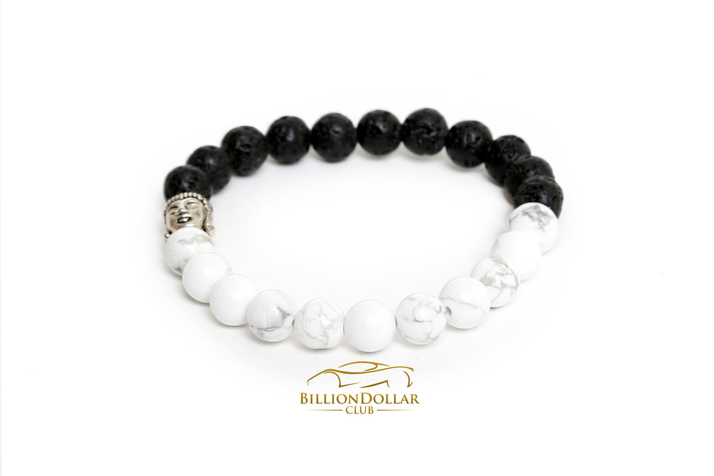 Lave Black and White Natural Stone Buddha Bracelet
