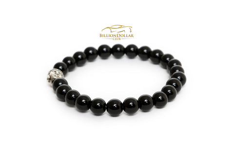 Natural Black Onyx Buddha Beads Bracelet