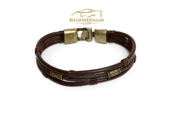 Handmade Mens Leather Bracelet with Charms