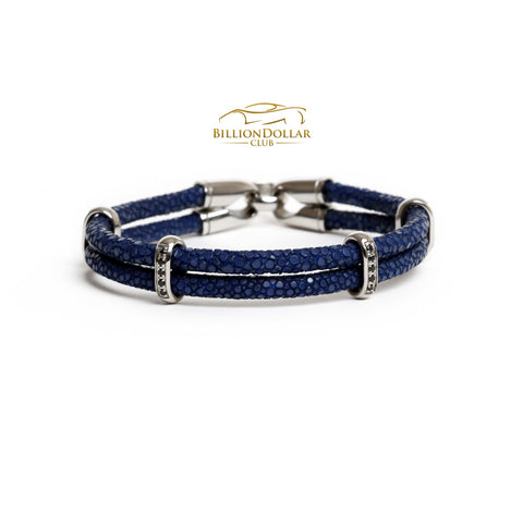 Blue Stingray Limited Edition Leather Bracelet with Charms