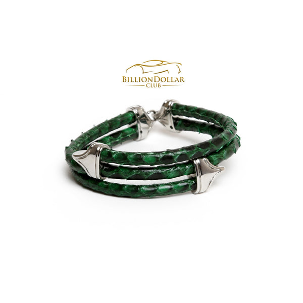 Tri Green Python Leather Bracelet - Last Piece