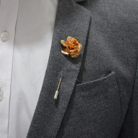 18K Gold Plated Timeless Rose Suit Pin