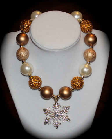 Gold Snowflake Rhinestone Necklace
