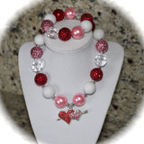 Valentines Day Double Heart Girls Chunky Bubblegum Necklace/Bracelet Set  Red, Pink and White