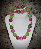 Watermelon Pink and Lime Green Girls Chunky Bubblegum Necklace w/ rhinestone beads