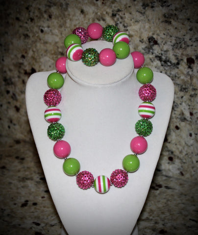 Watermelon Pink and Lime Green Women's Chunky Bubblegum Necklace w/ rhinestone beads