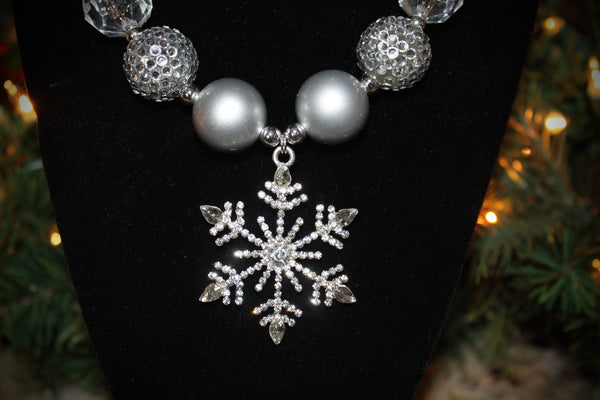 Silver Snowflake Rhinestone Necklace / Bracelet for adults
