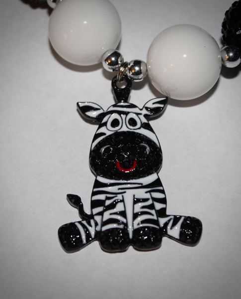 Zebra Rhinestone Pendant Necklace / Bracelet Set for children