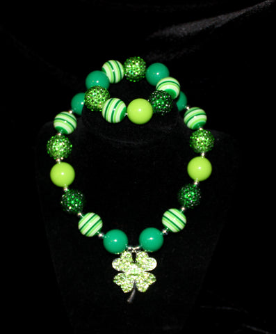 St. Patricks Day Shamrock Women's Chunky Bubblegum Necklace w/ rhinestone beads