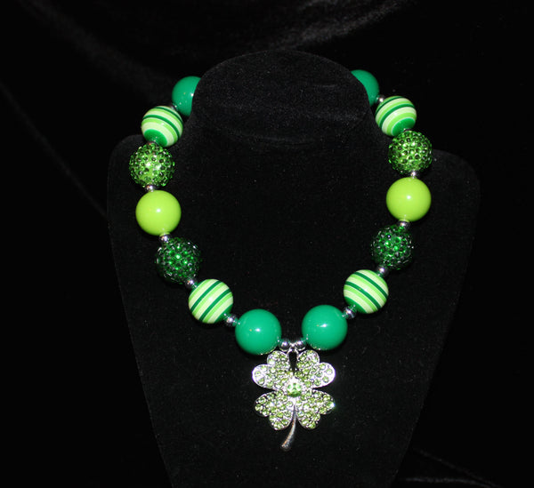 St. Patricks Day Shamrock Girls Chunky Bubblegum Necklace w/ rhinestone beads