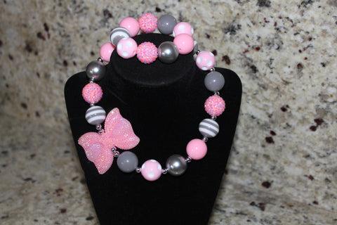 Gray and Pink Polka dot Bow Necklace/ Bracelet set for children