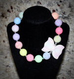 Spring Bow Necklace/ Bracelet set with pastel colors for adults