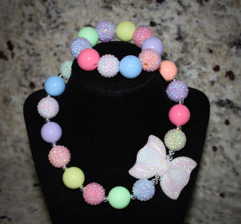 Spring Bow Necklace/ Bracelet set with pastel colors for children