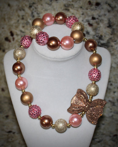 Pink and Gold Bow Necklace/ Bracelet set with gold and pink beads for children