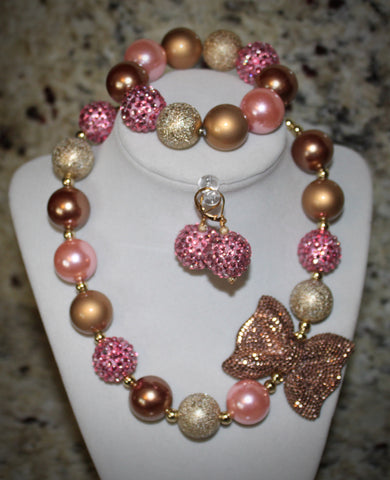 Pink and Gold Bow Necklace/ Bracelet set with gold and pink beads for adults