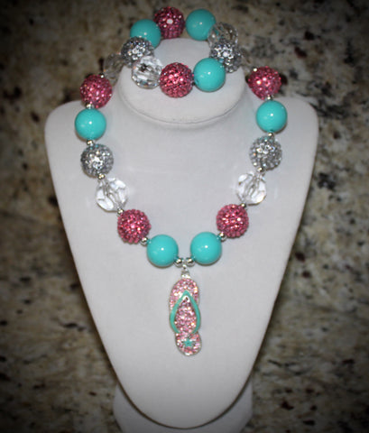 Flip Flop Sandle Chunky Bubblegum Necklace w/ rhinestone beads for girls