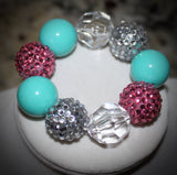 Flip Flop Sandle Chunky Bubblegum Necklace w/ rhinestone beads for adults