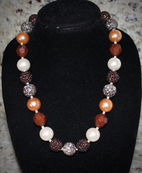 Leopard animal print Necklace/ Bracelet set with brown and gold beads for adults