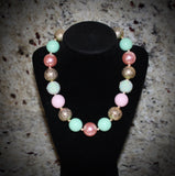 Pink, Mint green and Gold Women's Chunky Bubblegum Necklace w/ rhinestone beads