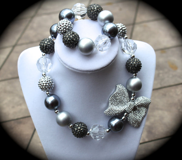 Silver Bow Necklace/ Bracelet set with gray and silver rhinestones for adults