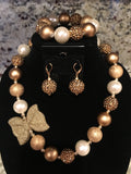 Gold Bow Necklace/ Bracelet set with gold, copper and ivory beads for children