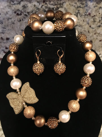 Gold Bow Necklace/ Bracelet set with pearls ivory pearls and gold beads for adults