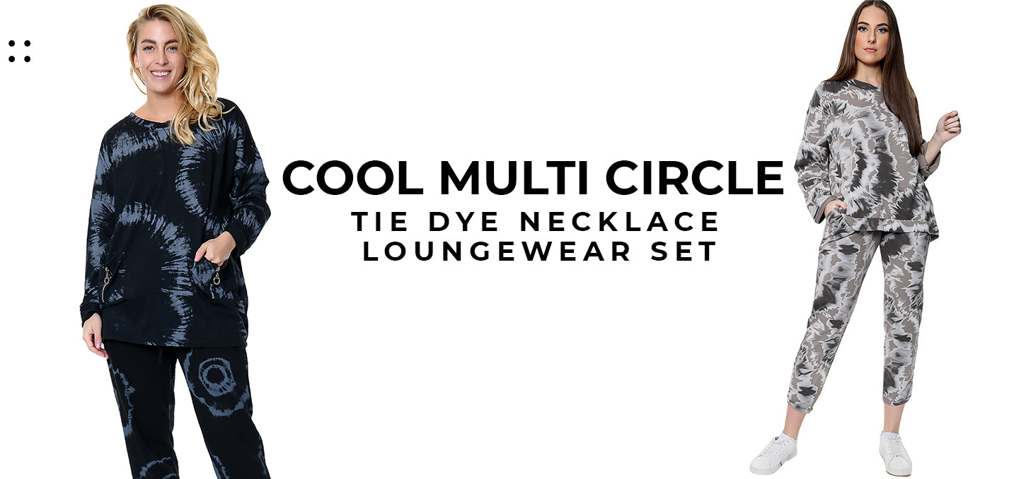 Cool Multi Circle Tie Dye Necklace Loungewear Set