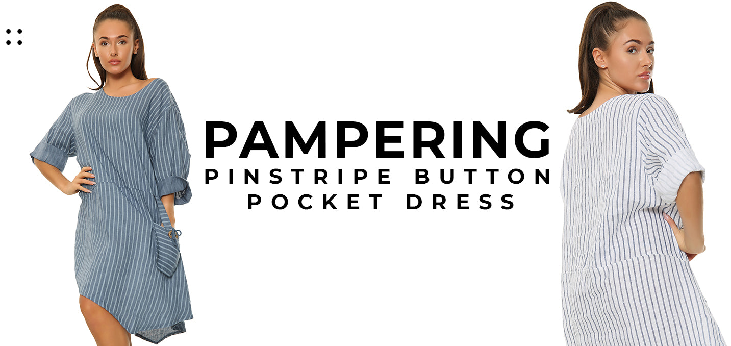 Pampering Pinstripe Button Pocket Dress