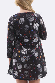 Girls Princess Skull Black Prints Halloween Swing Dress - Love My Fashions - Womens Fashions UK