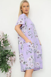 Italian Slit Pocket Spring Floral Dress