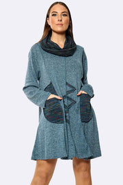 Italian Stripe Pattern Pockets Snood Top