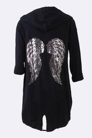 Rylie Foil Print Angel Wings Drawstring Cardigan