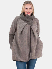 Amaya Zip Funnel Neck Chunky Knit Cocoon Jacket - Love My Fashions - Womens Fashions UK