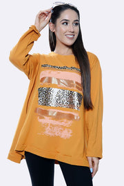 Italian Leopard Brush Stroke Print Baggy Top