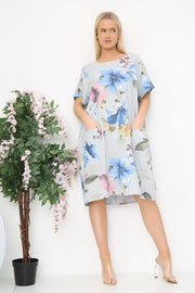 Italian Slit Pocket Floral Dress