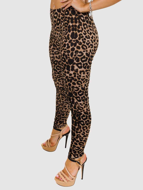 Leila Leopard Print Brown Legging - Love My Fashions - Womens Fashions UK