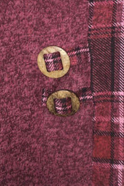 Italian Check Pattern Panel Bow Pocket Button Turn Up Top