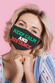 Keep Calm And Distance Print Face Cover