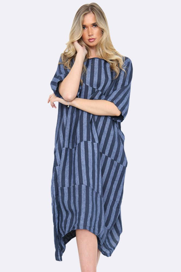 Italian Vertical Stripe Panelled Dress