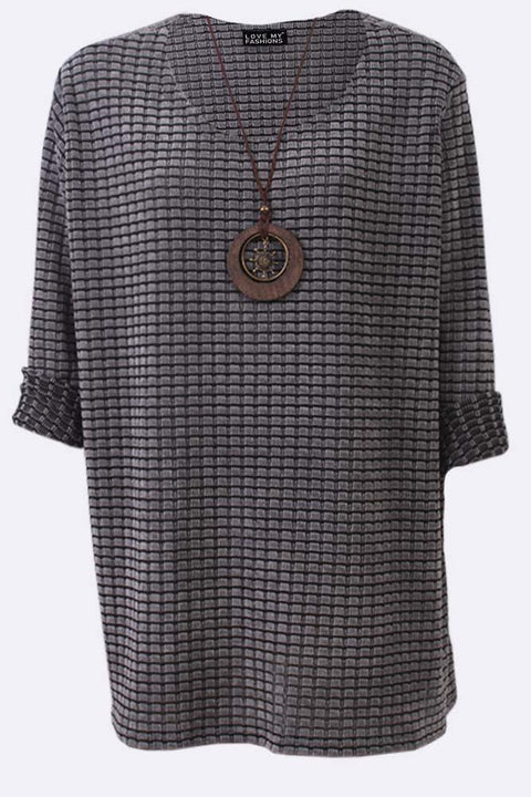 Evie-mae Corduroy Check Print Necklace Top