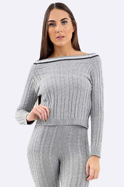Aliyah Chunky Cable Knit Striped Neckline Tracksuit